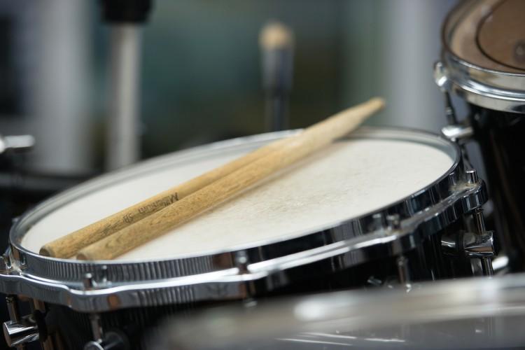 Blick auf unser Aufnahme-Schlagzeug.